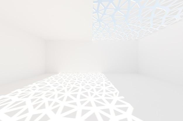Абстрактный белый фон архитектуры. 3d визуализация. современные геометрические обои. футуристический технологический дизайн