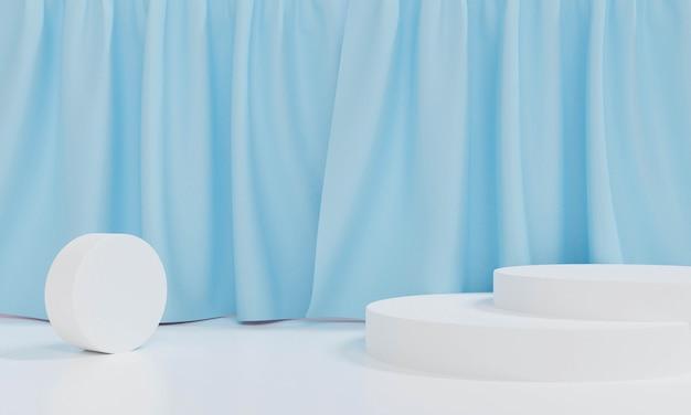 Абстрактный белый фон. 3d-рендеринг для постамента, подиума, демонстрационного продукта и дизайна макета.