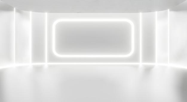 白いスタジオルームの抽象的な白い背景。
