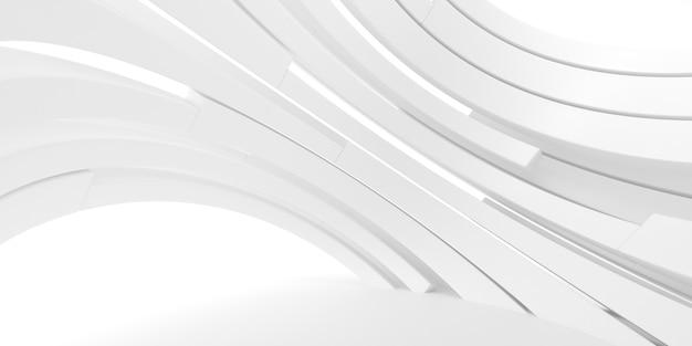 Абстрактный белый фон с линиями круга, архитектурные обои. 3d-рендеринг.