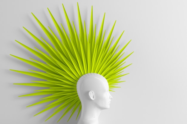 Abstract white background with female profile and stylized defiant fashion hairstyle mohawk painted green 3d illustration
