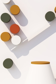 벽에 그림자와 함께 제품에 대 한 기하학적 모양 연단으로 추상 흰색 배경. 최소한의 개념 주황색과 갈색 노란색 톤. 3d 렌더링