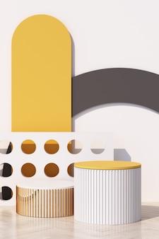 壁に影のある製品の幾何学的形状の表彰台と抽象的な白い背景。最小限のコンセプトの黄色と灰色。 3dレンダリング