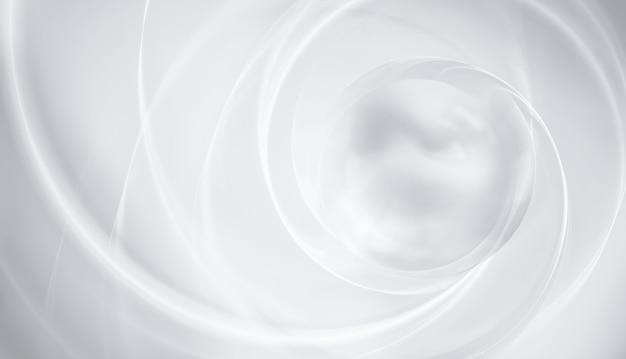 Абстрактный белый фон с плавными линиями и световой сферой