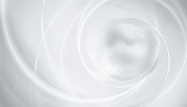 Abstract white background with smooth lines and light sphere