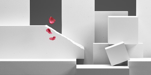 Abstract white block brick podium with rose petals background for product presentation 3d rendering
