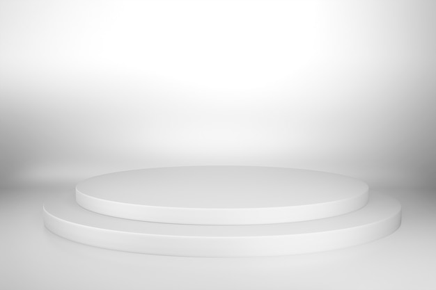 受賞歴のある抽象的な白い円形台座ステージ、現在の広告製品デザインのモックアップのための空白の白い丸い表彰台。 3dレンダリングイラスト