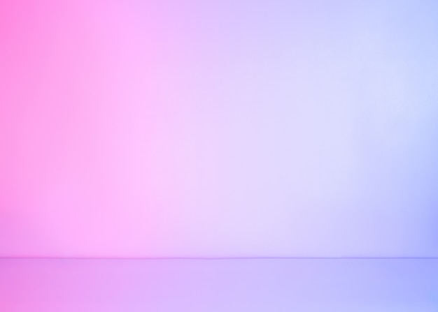 Abstract white empty background lit with colorful neon pastel gradient light