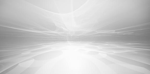 Абстрактный белый футуристический фон с фрактальным горизонтом