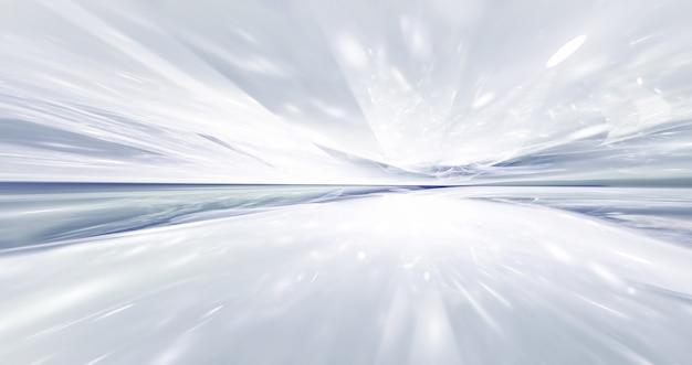 프랙탈 수평선과 추상 흰색 미래 배경