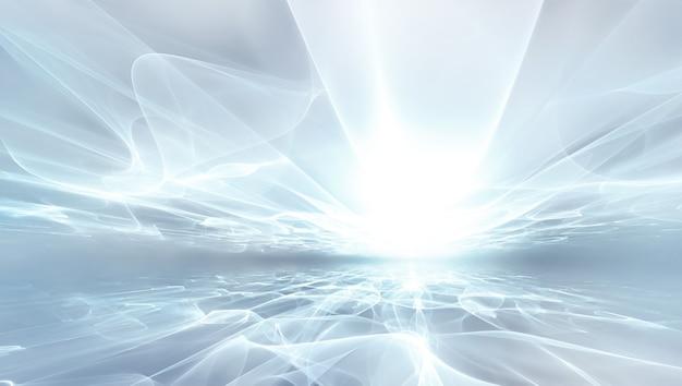 Абстрактный белый футуристический фон с фрактальным сияющим горизонтом