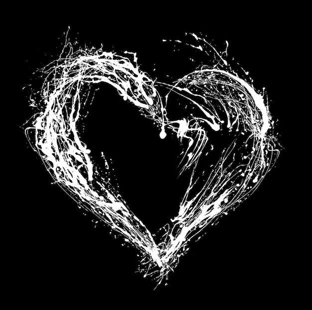 黒の背景に抽象的な白いハート。ハートグランジブラシストロークシンボル。手描きの心。
