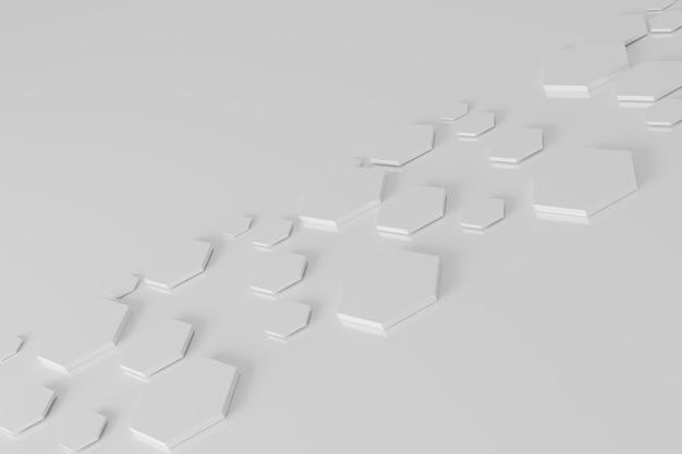 Абстрактный белый шестиугольник сотовый фон 3d-рендеринга