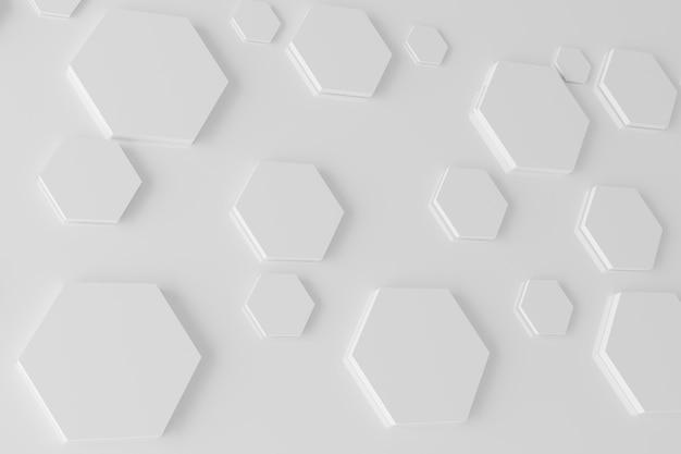 추상 흰색 육각형 벌집 배경 3d 렌더링