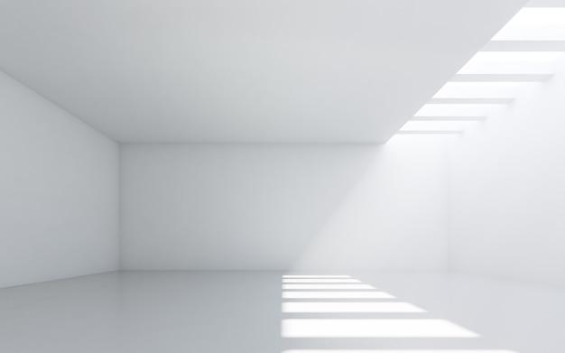 추상 흰색 인테리어. 흰 벽과 빈 방입니다.