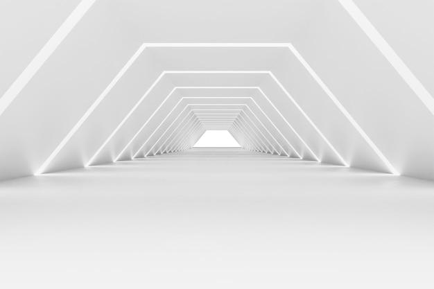 モダンなショールームで抽象的な白いインテリア