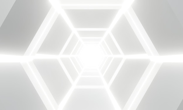 抽象的な白色光アーキテクチャの背景。未来的なインテリア。
