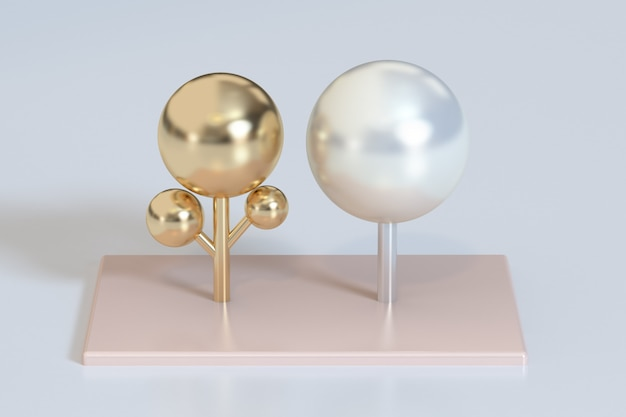 Abstract white pearl glossy gold metallic trees 3d rendering