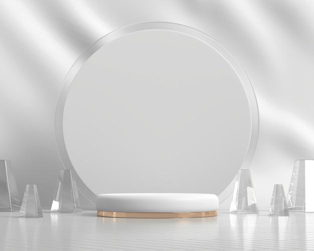 製品ディスプレイ3dレンダリングのための抽象的な白いプラットフォーム表彰台ショーケース