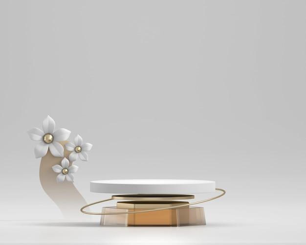 製品ディスプレイショーケース3dレンダリング用の抽象的な白い表彰台プラットフォームと花