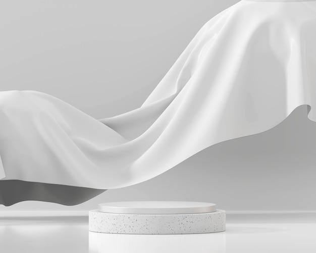 제품 디스플레이 쇼케이스 3d 렌더링을위한 추상 흰색 연단 플랫폼