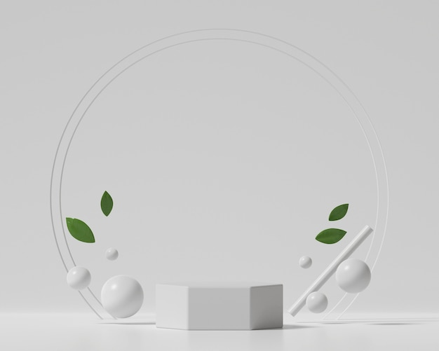製品ディスプレイショーケース3dレンダリング用の抽象的な白い表彰台プラットフォーム