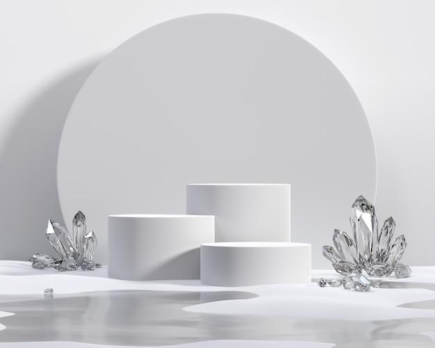 Crystal3dレンダリングを備えた製品ディスプレイショーケース用の抽象的な白い表彰台プラットフォーム