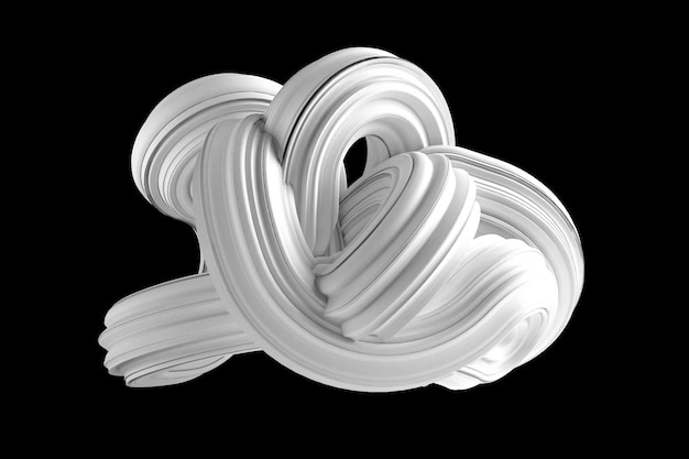 黒い背景に抽象的な白い形。 3dレンダリング。