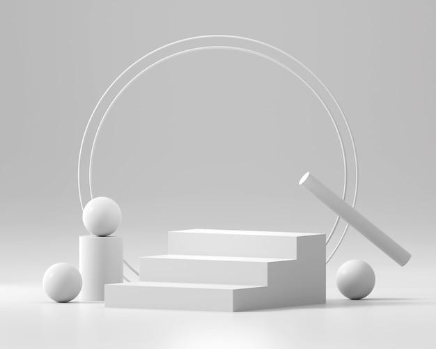 製品ディスプレイショーケース3dレンダリングのための抽象的な白いステップ表彰台プラットフォーム