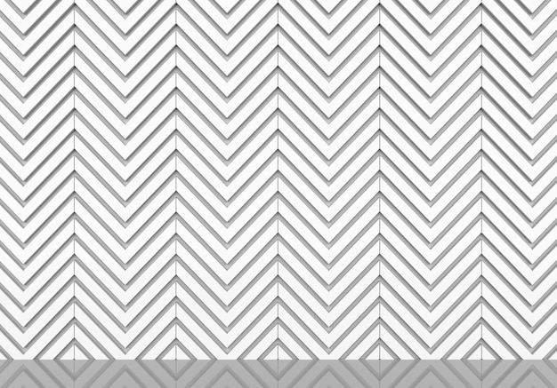 Abstract white zigzag pattern wall and floor background.