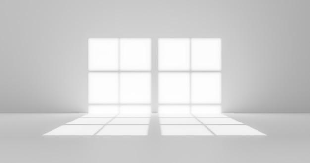 Абстрактное окно наложения тени дизайн солнечного света и белая стена на пустой серой комнате фон размытой поверхности с световым эффектом или презентацией обои природа летний фон. 3d-рендеринг.