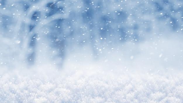 森の降雪と抽象的な冬のクリスマスと新年の背景