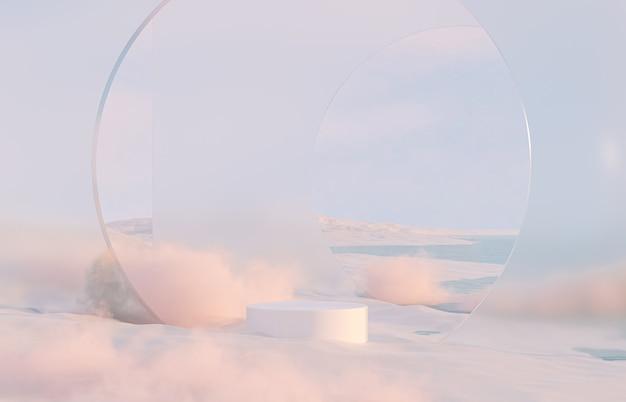 Абстрактный зимний рождественский пейзаж сцены фон с подставкой для продуктов