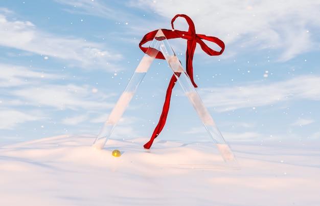 Абстрактная зимняя рождественская сцена с геометрической ледяной рамкой и красной лентой