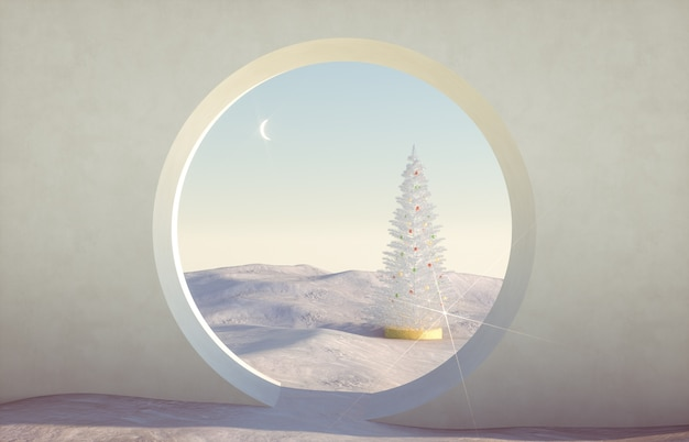 Abstract winter christmas scene with geometrical forms, arch with a podium in natural light.