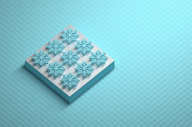 받침대와 9 개의 파란색 눈송이와 추상 겨울 구성