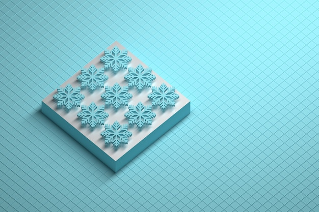 Abstract winter composition with pedestal and nine blue snowflakes