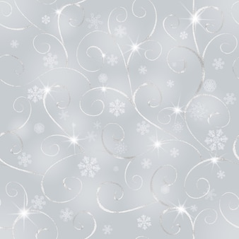 Abstract winter gray seamless background with silver oriental pattern and white snowflakes concept happy new year and merry christmas
