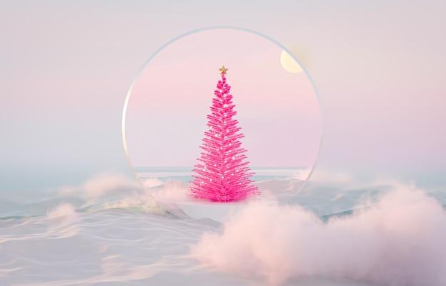 Абстрактный зимний пейзаж сцены фон с розовой елкой
