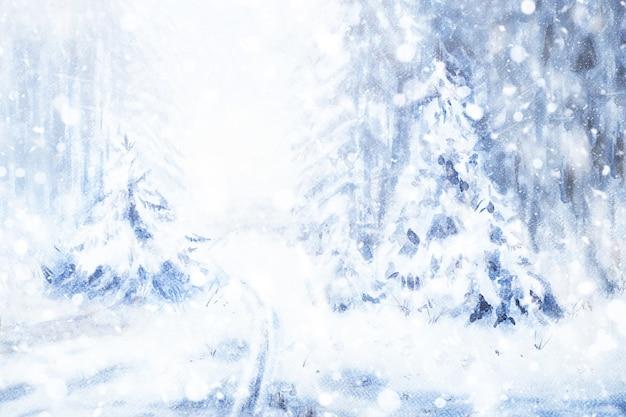 Абстрактная зимняя пейзажная акварель. снег в лесу