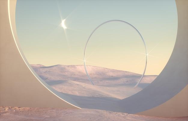 自然光の中で幾何学的な形で抽象的な冬景色。