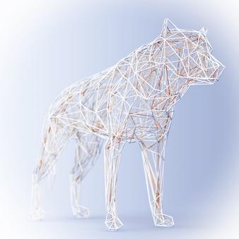 Абстрактный проводной низкополигональный волк или собака на синем фоне. 3d рендеринг
