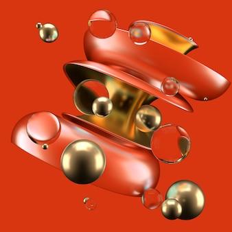 赤と金の形をした抽象