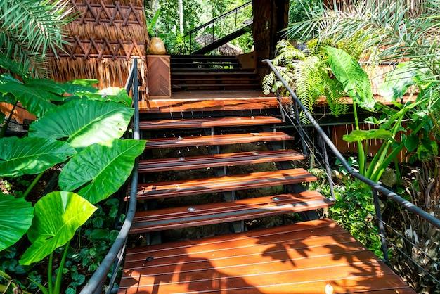 抽象的な木の階段