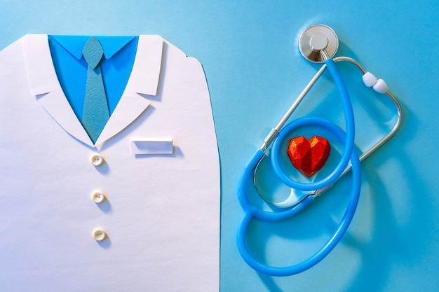 Abstract world health day concept with doctor and stethoscope on blue background. copy space. healthcare.