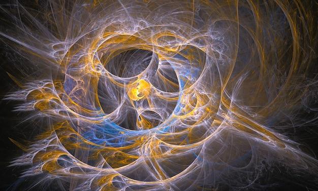 Абстрактный желтый и белый фрактальный фон на черном