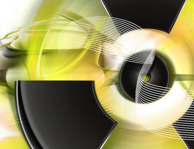 방사선 기호 추상 노란색 배경
