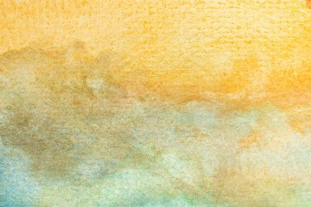 추상 노란색, 갈색, 녹색, 청록색 수채화 배경. 아트 핸드 페인트