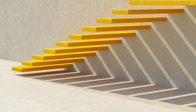 Abstract yellow cement stairs on gray wall with aligned shadow