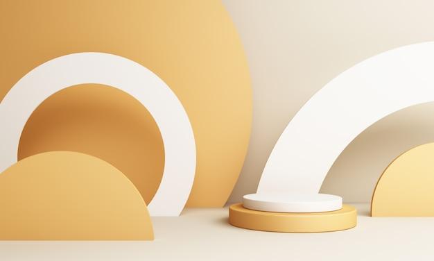 Абстрактная желтая композиция с подиумом. минимальная студия с круглым пьедесталом и копией пространства, витрина, 3d-рендеринг для презентации продукта